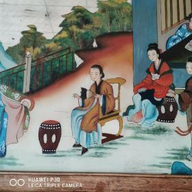 清代教子图玻璃画古玩人物故事收藏古董陈设装饰民俗怀旧包老物件