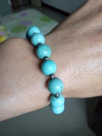 绿松石手串  镶嵌小银珠  女士手串
