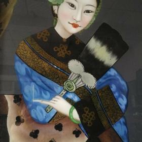 清代仕女图玻璃画古玩人物故事美人镜收藏古董装饰民俗怀旧老物件