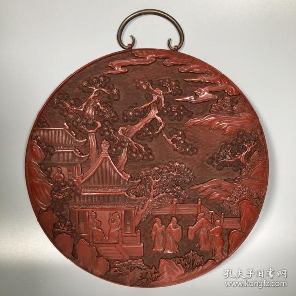 旧藏剔红漆器人物故事挂圆盘赏盘 重1222克