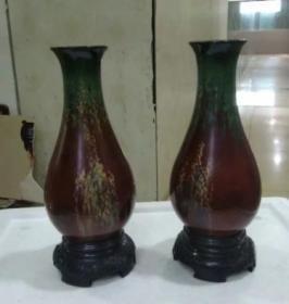 80年代,木胎均漆花瓶1对