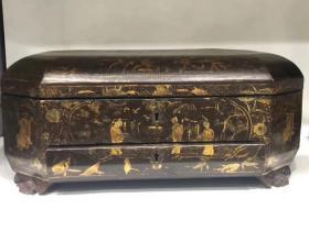晚清十三行大漆描金人物故事多宝盒 皮壳包浆浑厚,描金人物清晰可见,长35厘米,宽25厘米,高15厘米