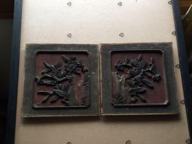 《特价》精美老木雕,清代中期《山石牡丹菊花图》
