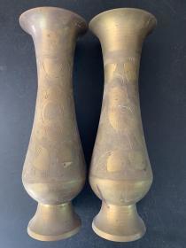铜花瓶一对/俄罗斯购买/黄铜插花瓶/花鸟图案/重量850克