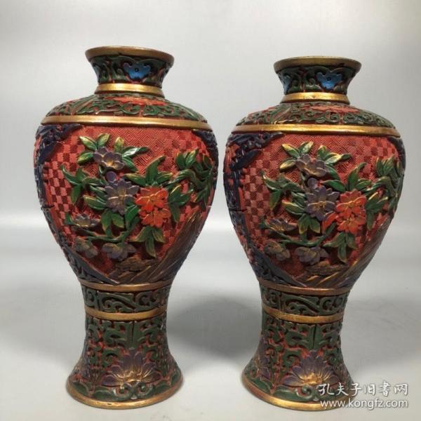 旧藏彩绘漆器花开富贵花瓶摆件一对