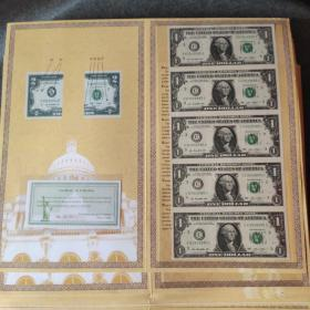 美元连体钞全新1美元5连体钞,币保真支持中国境内所有银行鉴定。假一赔十。带包装,收藏欣赏馈赠礼品皆宜。
