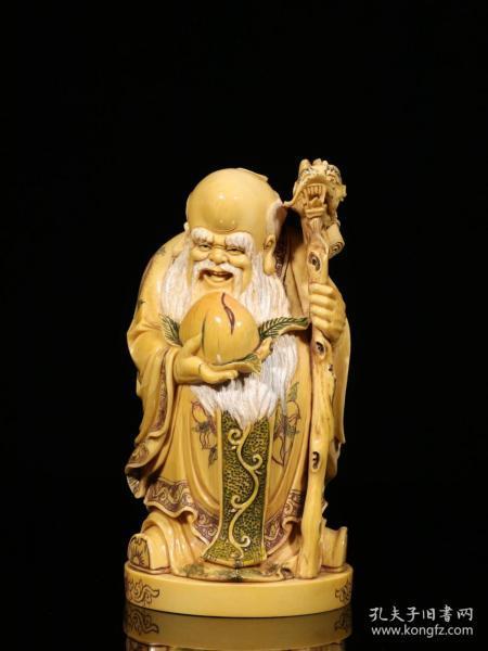 香港回流.xy手工雕刻寿翁立像摆件