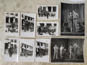 老照片:八十年代舞台表演的黑白照片   共9张合售     黑白照片箱00039-12