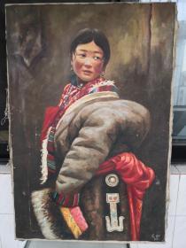 艾轩先生1987年藏族女孩油画。背有中央工艺美术学院,编号章。卖家保真。