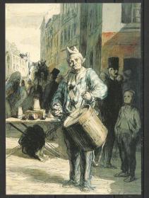 原版明信片 美国 美术明信片 大都会博物馆藏画 小丑敲鼓图 六寸
