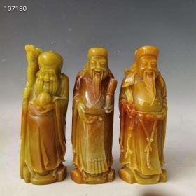 清代田黄石福禄寿摆件,纯手工雕刻,雕工精美,保存完好,品相如图