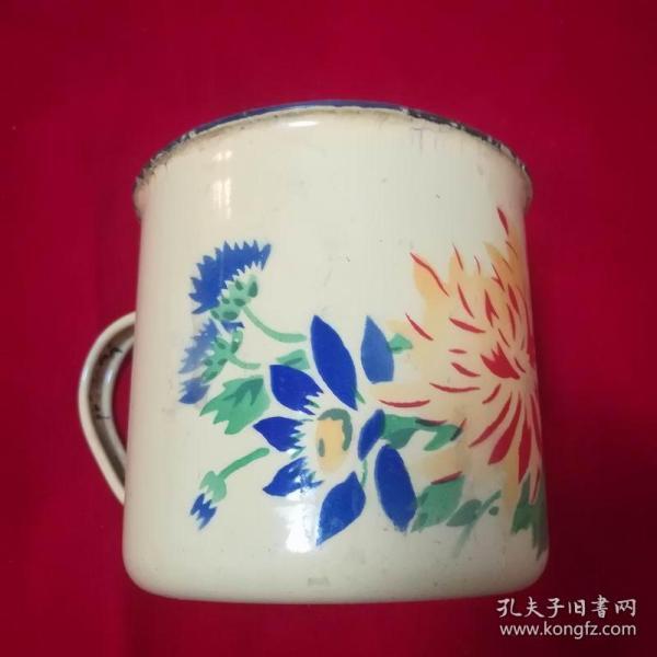 1959年上海久新搪瓷厂【菊花】搪瓷缸,品见图