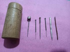 晚清民国中医工具针灸针6件