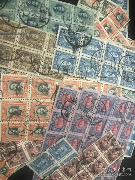 民国早期老邮票500张 都是连票、四方10连8连 多连等全戳 便宜出 难得实寄封信销票连票