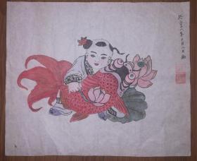 手绘真迹国画:张金生手绘杨柳青年画