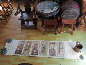 多年以前在北京收来老画一副、作者为李瑞清、纯手绘、人物绘画精美、全部开脸慈祥、画工细致。保老保真保手绘 尺寸:高度260?宽度60画芯高度165.5