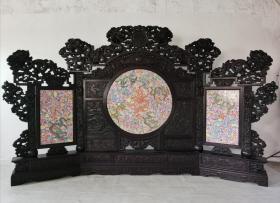 旧藏 紫檀镶瓷板万花九龙屏风 长4.25m 宽0.30m 高2.68m