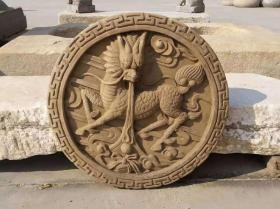 山西老砖雕~麒麟吐玉书,雕琢精美,寓意极佳,尺寸较大,装饰装修佳品~