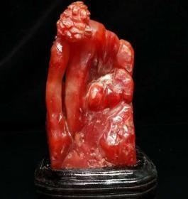 珍藏老料红田黄山子,纯手工雕刻《仙山隐居》雕工精细,质地通透,色彩红艳,尺寸细节如图,重1083g,带有证书