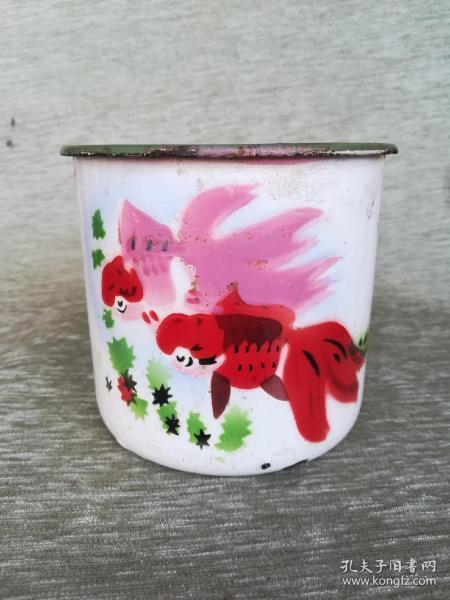 1988年5月,双燕牌,金玉满堂搪瓷缸,金鱼,13.9*10.8*9.8cm,品如图