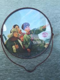 文革天津市向阳制镜厂圆形梳妆镜,保卫祖国18*9*20cm