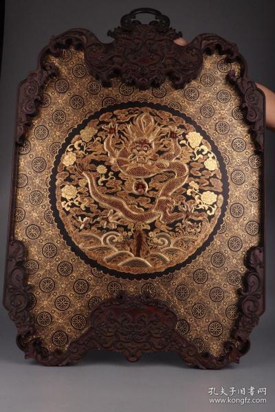 清代:木胎大漆描金海水云龙纹挂屏
