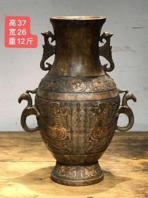 大户旧藏天然玉石雕刻高古龙纹大瓶! 纯手工雕刻 精工细雕 包浆厚重 全品!
