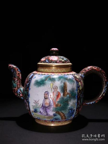 清代 老紫砂珐琅彩茶壶。