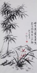 【自写自销】当代艺术家协会副主席王丞手绘!竹有虚心兰生虚心2039