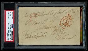 滑铁卢战争获胜者 威灵顿公爵  1838年亲笔签名完整信封 带封蜡 PSA认证鉴定