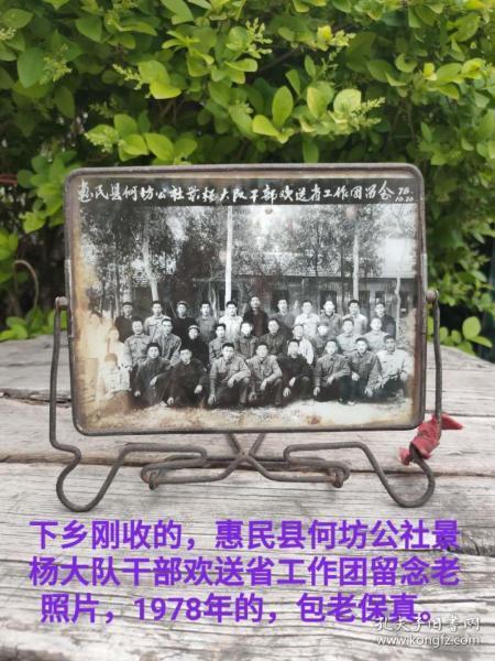 下乡刚收的,惠民县何坊公社景杨大队干部欢送省工作团留念老照片,1978年的,包老保真。尺寸20?15cm