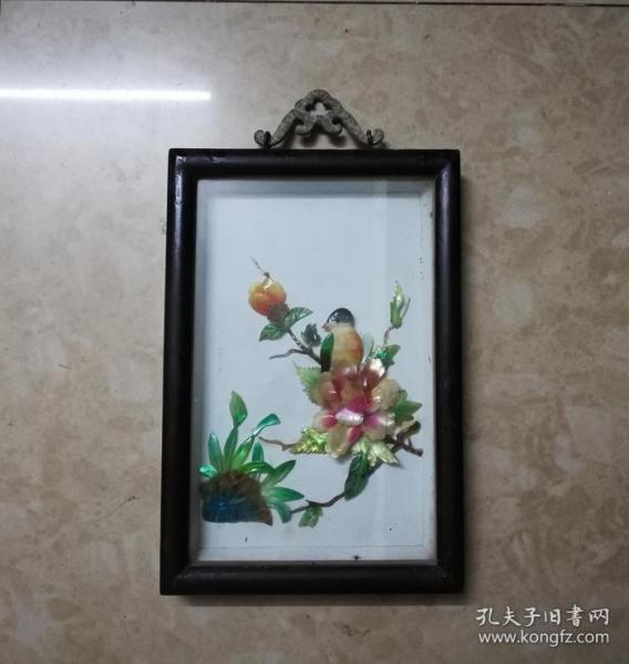 美雅的文革花鸟纹贝雕画