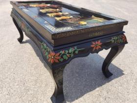 创汇时期漆器镶嵌人物玉石茶桌一个,完整漂亮,尺寸如图