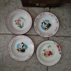 八十年代丰收牌三星牌花卉搪瓷盘4个合售