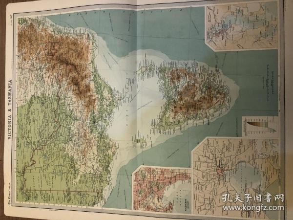 塔斯马尼亚和维多利亚地图