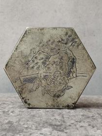 【文房墨盒】铜制,全品完整,物品实拍如图!