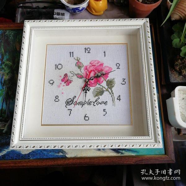 十字绣图案工艺品电钟电挂钟(有小暇疵)
