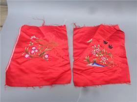 民国时期刺绣花鸟蝴蝶纹丝绸绣片一对