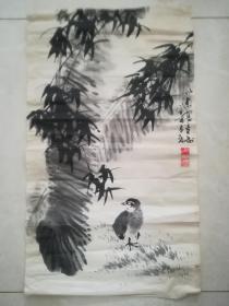 竹子芭蕉叶鸟刘以忠画