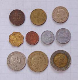 菲律宾 硬币10枚 旧品 外国钱币