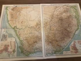 1922年 南非地图两张,内容翔实,品好 每张都是59cm*46cm