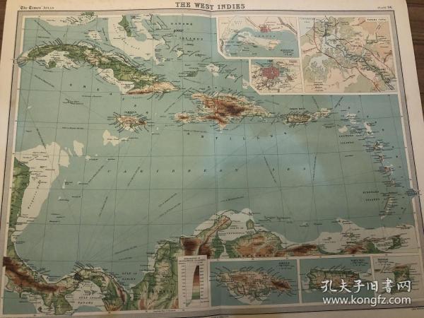 1922年 加勒比海地图 西印度群岛