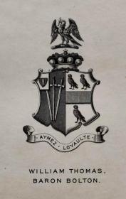"""""""英皇御用铜版雕刻大师""""巴雷特W.P.Barrett铜版纹章藏书票/ 票主:William Thomas 1899"""