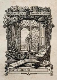 """""""英皇御用铜版雕刻大师""""巴雷特W.P.Barrett铜版藏书票——《书籍花瓶与外景》 1898"""