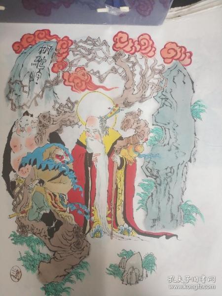 戴敦邦风格,川美画家宣纸手绘原稿西游记100张(一回一张),35*35cm。