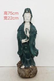 明代【何朝宗】制德化窑白瓷挂釉菩萨站像