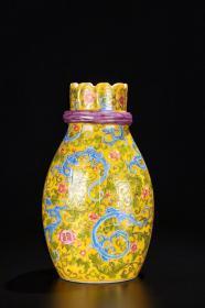 【老琉璃黄地釉画珐琅群龙纹包袱瓶】