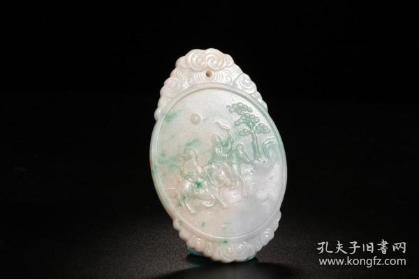 旧藏 人物故事翡翠玉壁