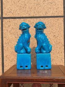 文革时期蓝釉案头狮子一对全品完整