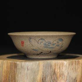 【孔夫精品】手工制作粗陶茶杯 荷花淡雅 单杯
